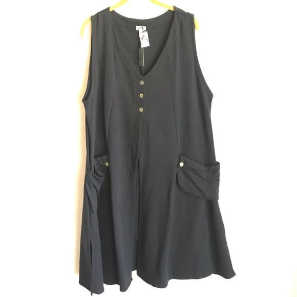 Just Jill Jackets & Blazers - Just Jill Black Long Vest Size XXXL Button Front